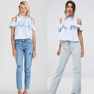 ASOS BOOHOO Light Blue Frill Cold Shoulder Shirt ⭐
